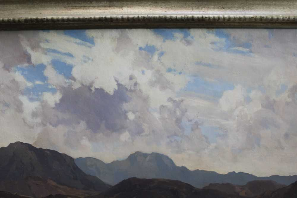 Lewis Taylor Gibb (1873-1945) oil on canvas - Extensive Scottish Landscape, signed, 63cm x 76cm, in - Image 6 of 14