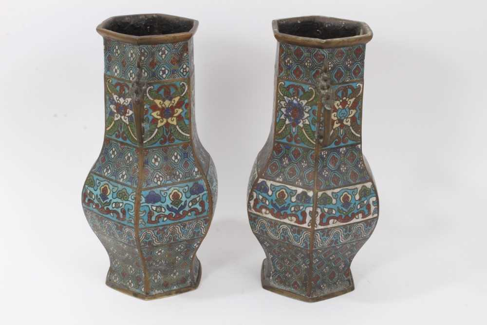 Pair of antique Chinese cloisonné enamel and brass vases, 30.5cm - Image 2 of 5