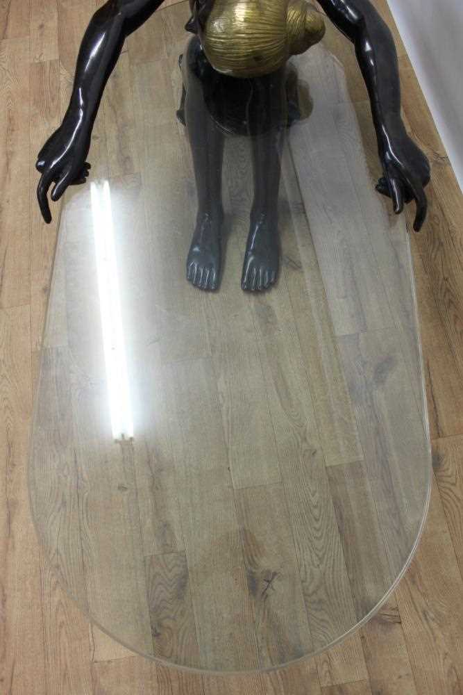 Impressive modern bronze sculptural glass topped coffee table - Image 8 of 8