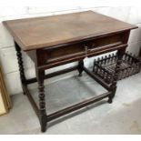 17th century fruitwood single drawer side table
