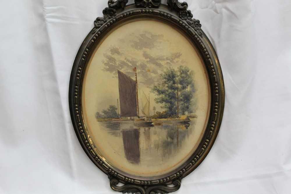 Stephen Batcheldar (1849-1932) pair of Broadland watercolours in oval frames