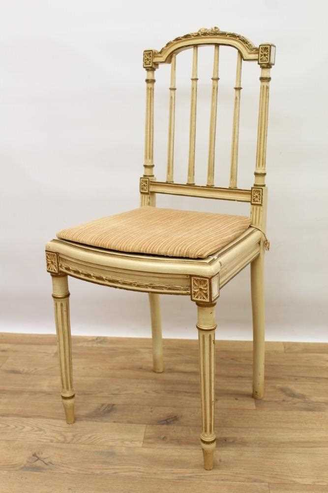 Late 19th / early 20th century French cream painted bergère suite - Image 6 of 16