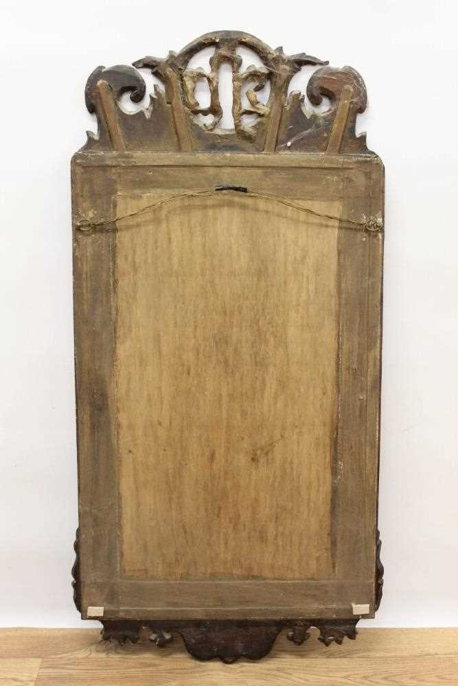 George II style fret carved mahogany wall mirror, rectangular shaped plate in gilt slip and fret fra - Image 4 of 4