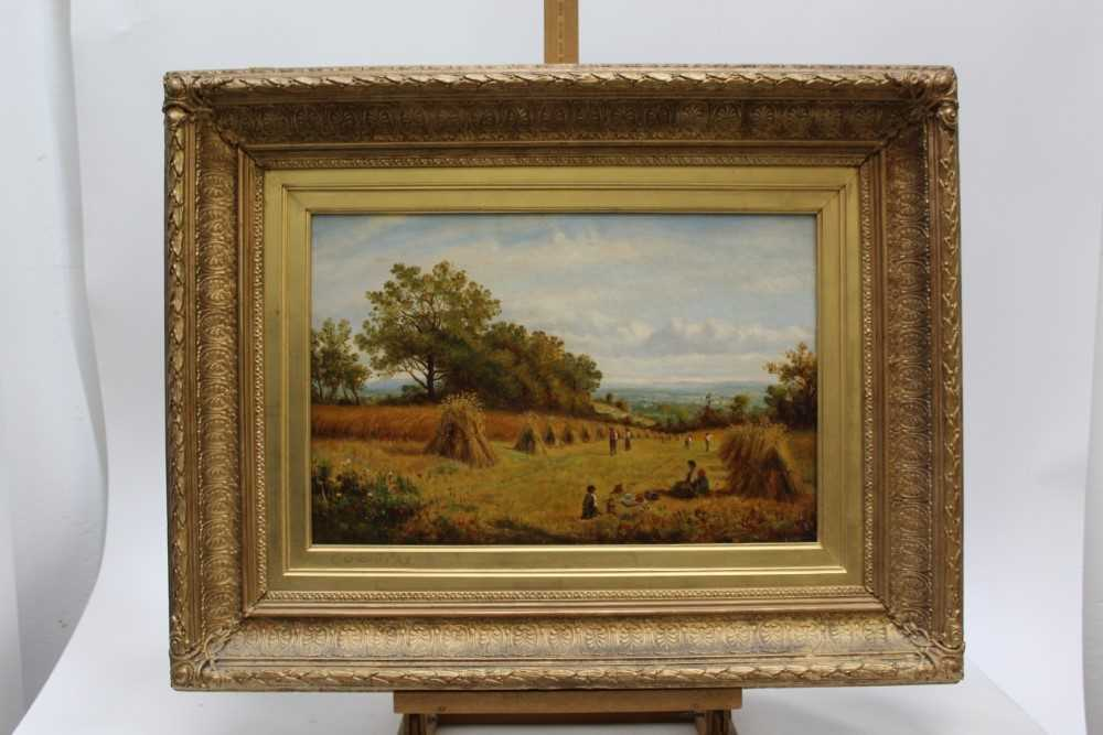 J Hughes - late 19th century oil on canvas in original gilt frame - Sunny Cornfield. 29cm x 44.5cm - Image 2 of 11