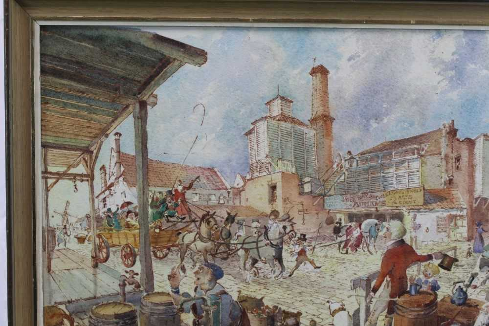 Peter Proud, watercolour - Adnams Brewery, Southwold, signed and dated '70, in glazed frame - Image 5 of 7