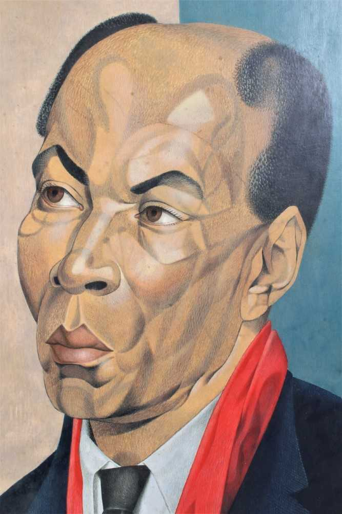 *Francis Plummer (1930-2019) egg tempera on board - portrait of a Jamaican Lawyer, signed and dated - Image 2 of 5