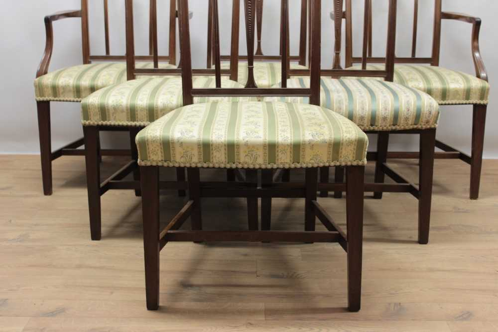 Set of eleven George III style mahogany dining chairs, each with vertical bar back and striped uphol - Image 3 of 4