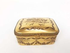 French ormolu-mounted porcelain box, late 19th century, probably Limoges, gilded and enamelled en gr
