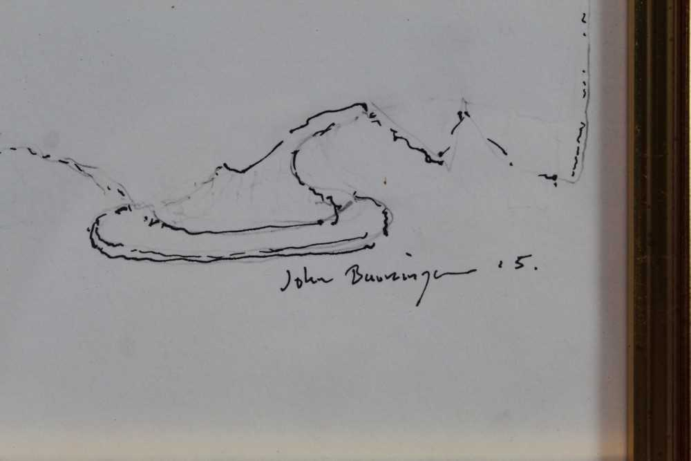John Burningham (1936-2019) pen and ink sketch - Champagne with Noel Coward, signed and dated '15, i - Image 2 of 4