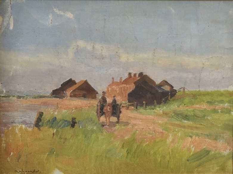 Robert G. D. Alexander (1875-1945) oil on canvas laid on board - Kirby Quay, Essex, with Carters Mil - Image 2 of 9