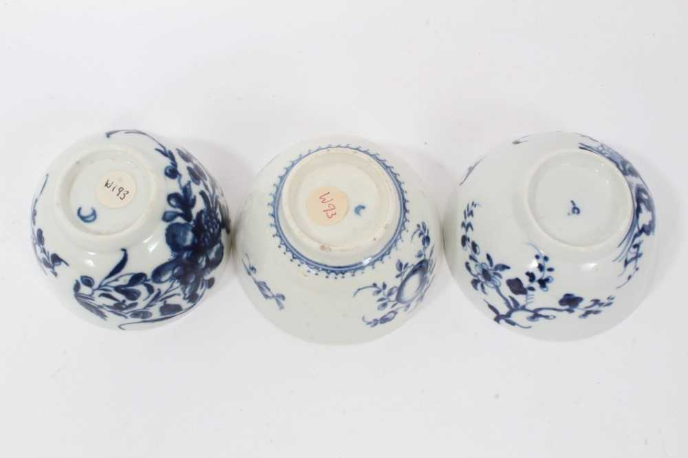 Worcester tea bowl and saucer, circa 1758, painted in blue with the Prunus Root pattern, together wi - Image 12 of 12