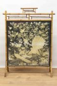 Fine 19th century fire screen with a finely embroidered Chinese silk panel depicting a peacock and p