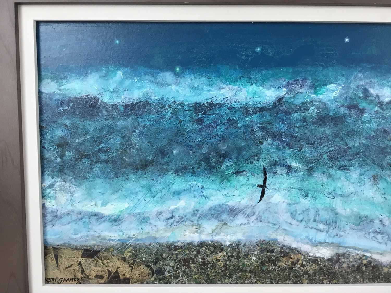 *Keith Grant (b.1930) acrylic on board - The Sea at Old Skagen with black Seabird and Crescent Moon, - Image 3 of 7