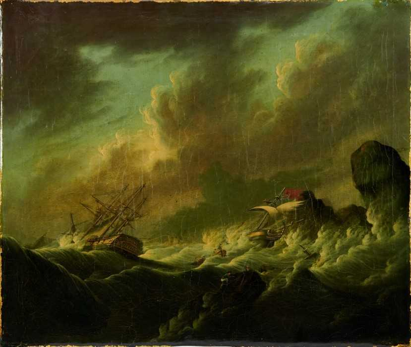 Attributed to Joseph Vernet (1714-1789) oil on canvas - shipping crashing against the rocks, 55cm x