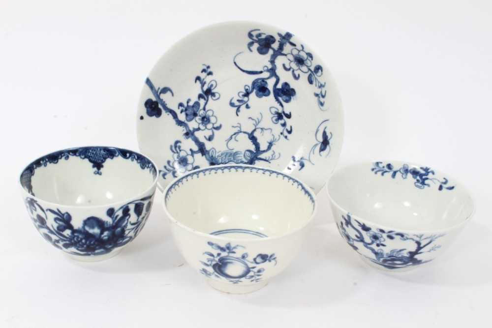 Worcester tea bowl and saucer, circa 1758, painted in blue with the Prunus Root pattern, together wi