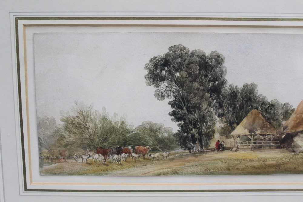 Edward Duncan (1803-1882) watercolour- Landscape with cattle - Image 3 of 7