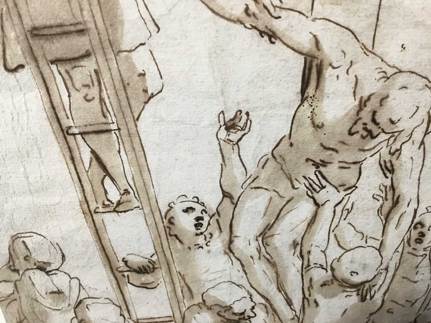 After Luca Cambiaso (1527-1585) 16th century drawing, pen and ink with wash, watermark, 'The Descent - Image 10 of 13