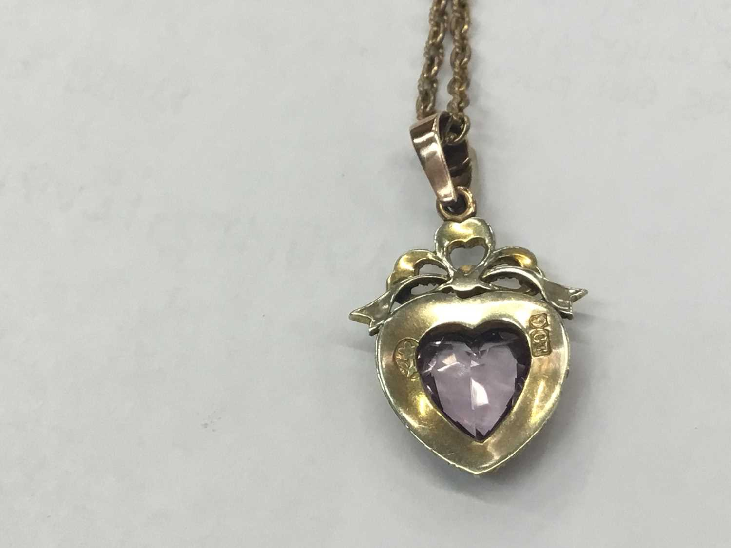 Edwardian 9ct gold amethyst and seed pearl heart shaped pendant on chain - Image 2 of 2