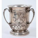 Edwardian silver three-handled cup