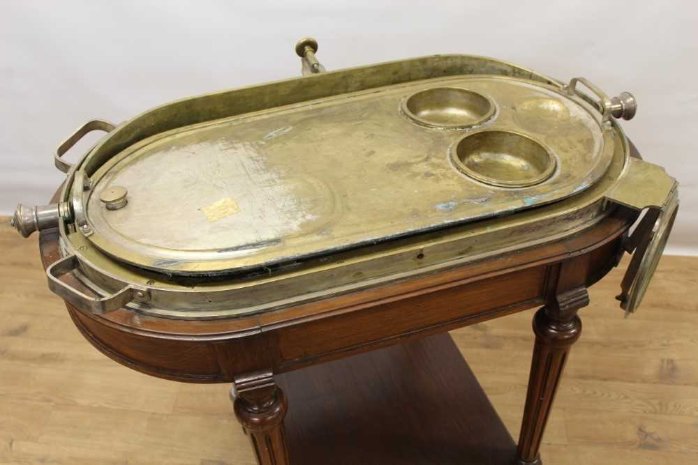 Impressive early 20th century mahogany serving trolley, with silver plated domed cylinder cover and - Image 5 of 8