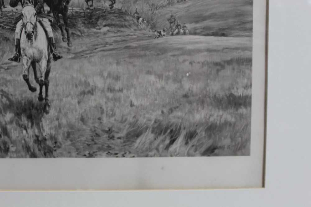 Thomas Blinks (1860-1912) three signed photogravures - Hunting Scenes, 40cm x 57cm, in glazed frames - Image 8 of 15