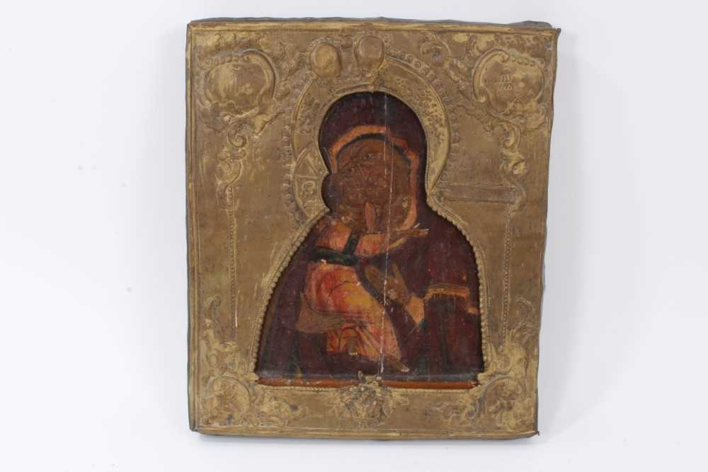 19th century Russian icon, with metal oklad.