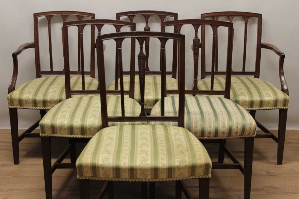 Set of eleven George III style mahogany dining chairs, each with vertical bar back and striped uphol - Image 2 of 4