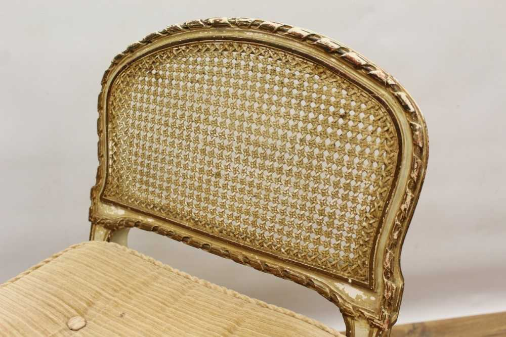 Late 19th / early 20th century French cream painted bergère suite - Image 14 of 16