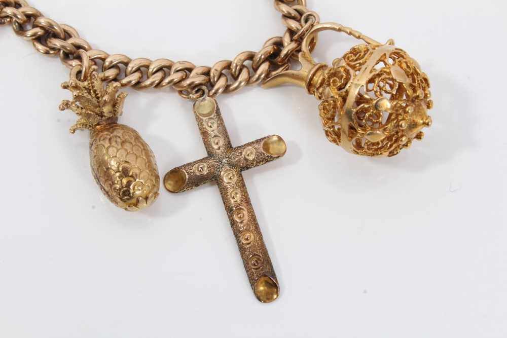 9ct gold charm bracelet with eight 9ct gold charms and padlock clasp, - Image 5 of 5