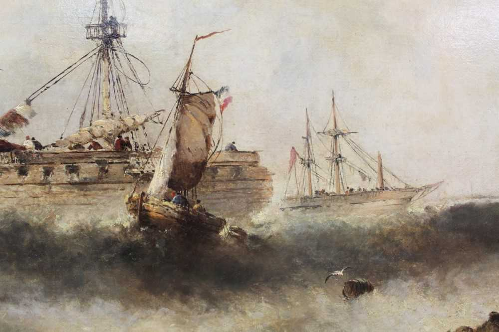 Manner of William Henry Williamson oil on canvas - shipping off the coast, in gilt frame - Image 24 of 27