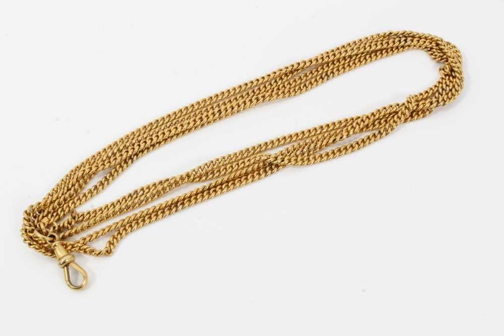 Victorian 9ct gold guard chain with curb links, approximately 136cm.