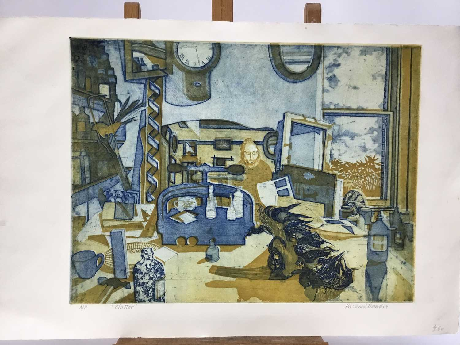 Richard Bawden (b. 1936) etching and aquatint in colours, Clutter, signed, artists proof, unframed. - Image 4 of 4