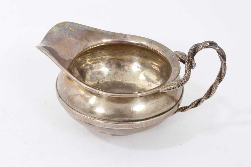 Georgian silver milk jug with intertwined serpent handle, and two others items - Image 6 of 8