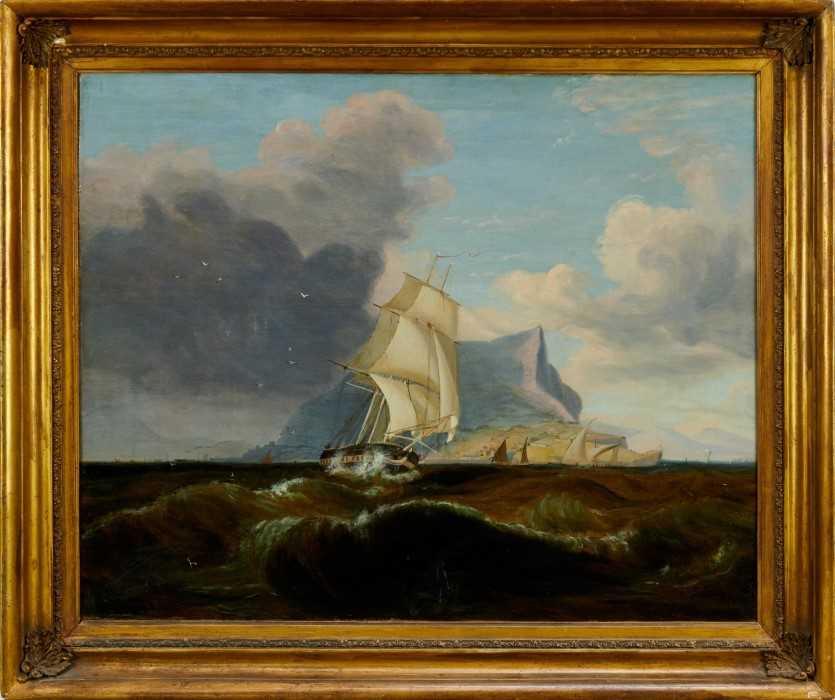 John Lynn (act.1826-1869) oil on canvas - British Frigate off Gibraltar, circa 1835, 49cm x 60cm, in