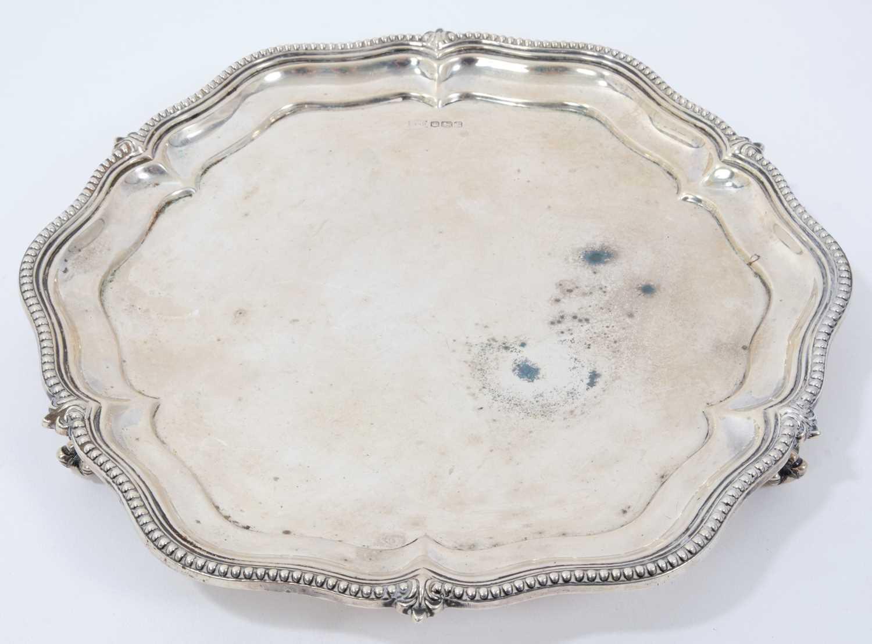 1930s silver salver of hexagonal form, with bead and fleur de lys border,