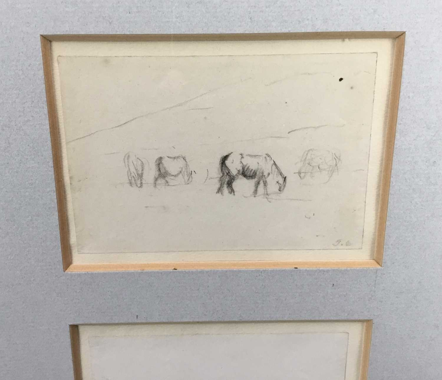 Thomas Churchyard, trio of pencil drawings of horses, framed as one - Image 5 of 9