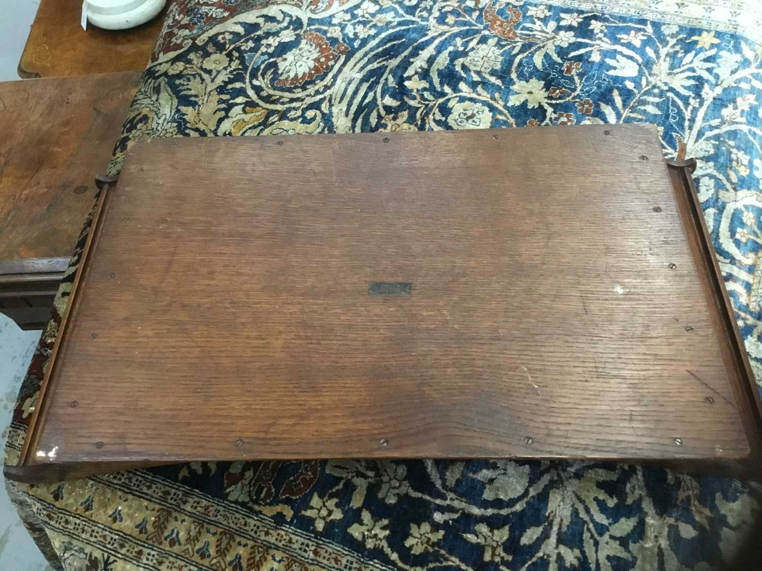 Arthur Simpson of Kendal: arts and crafts carved oak tray - Image 8 of 11