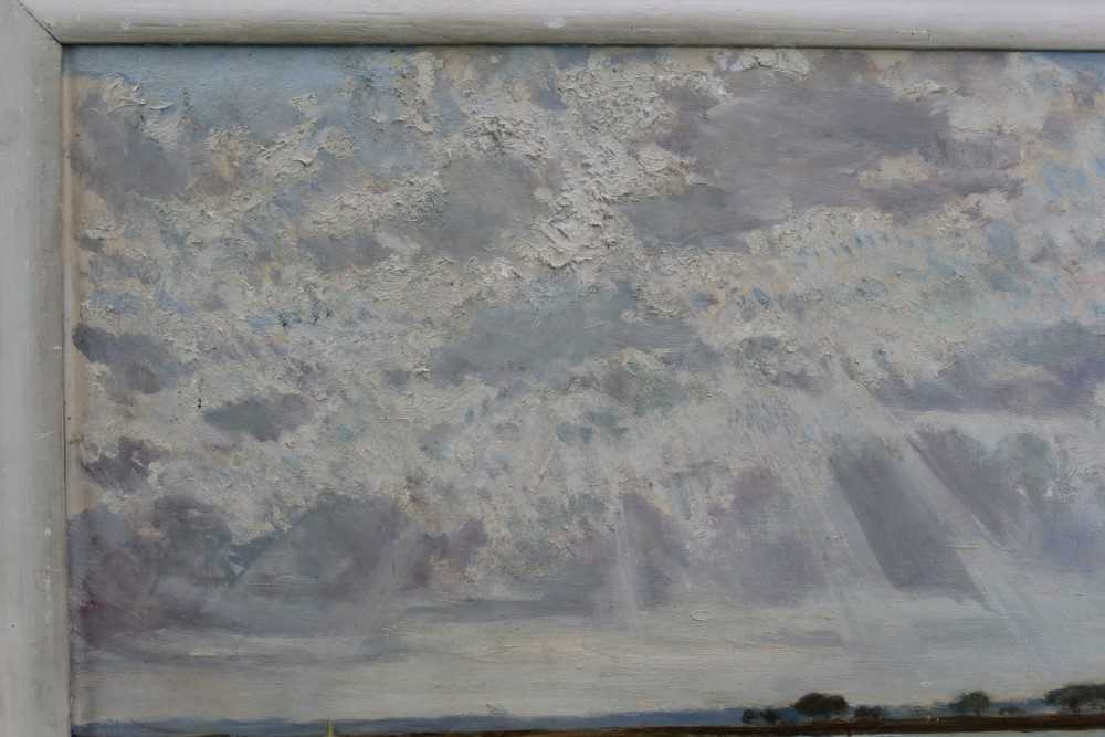 Fid Harnack oil on board, Strood Channel, signed and inscribed verso - Image 4 of 6