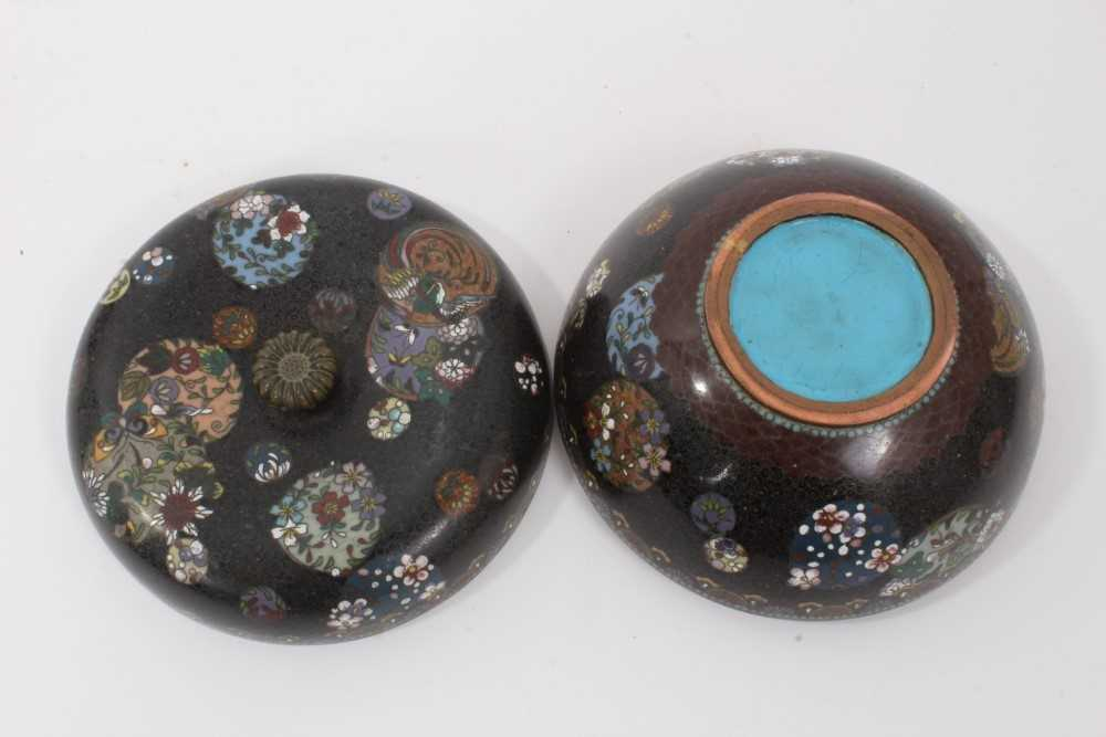 Japanese cloisonné pot and cover, together with another - Image 5 of 10