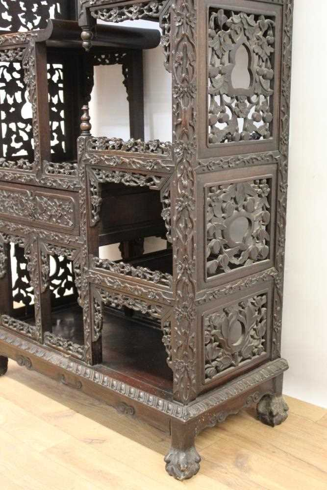 Late 19th century Chinese carved rosewood display cabinet - Image 6 of 13