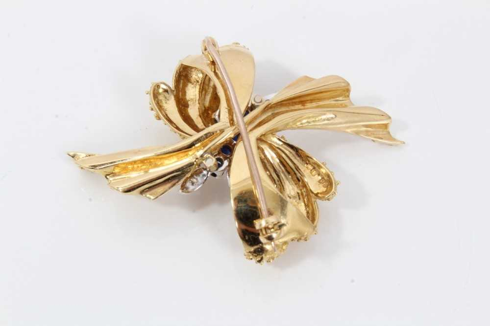18ct gold sapphire and diamond brooch - Image 2 of 2