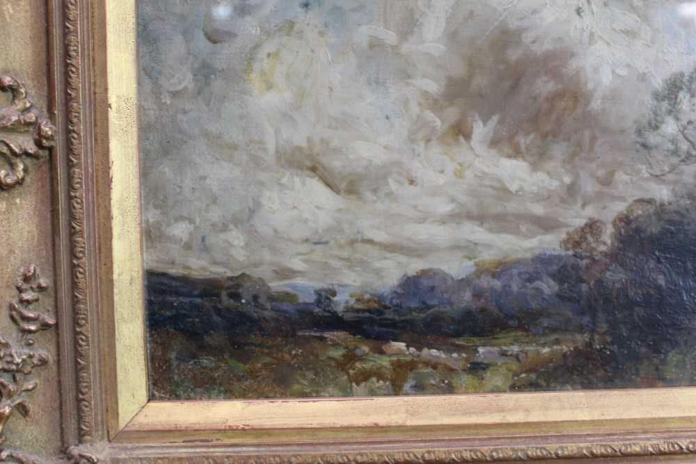 Manner of John Constable, oil on canvas laid on board - Extensive Landscape, in glazed gilt frame - Image 3 of 7