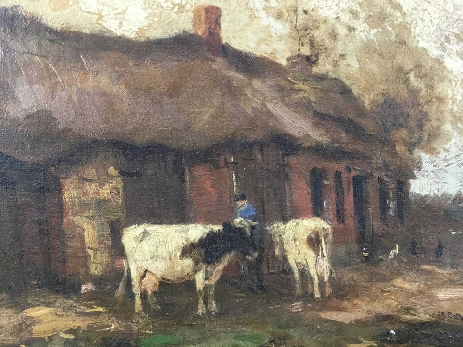 Willem G. F. Jansen (1871-1949) oil on canvas Figure and cattle in landscape - Image 4 of 10
