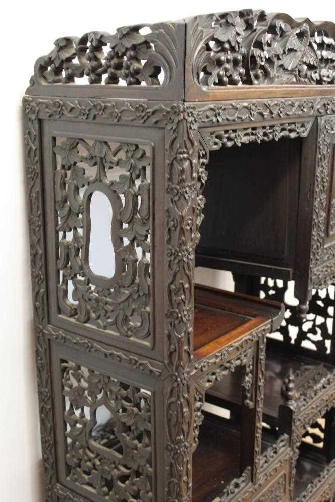 Late 19th century Chinese carved rosewood display cabinet - Image 7 of 13