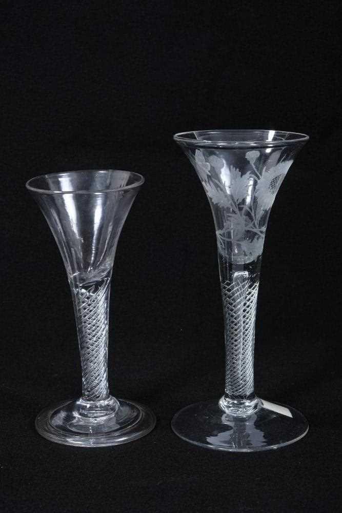 Two Georgian wine glasses, c.1750