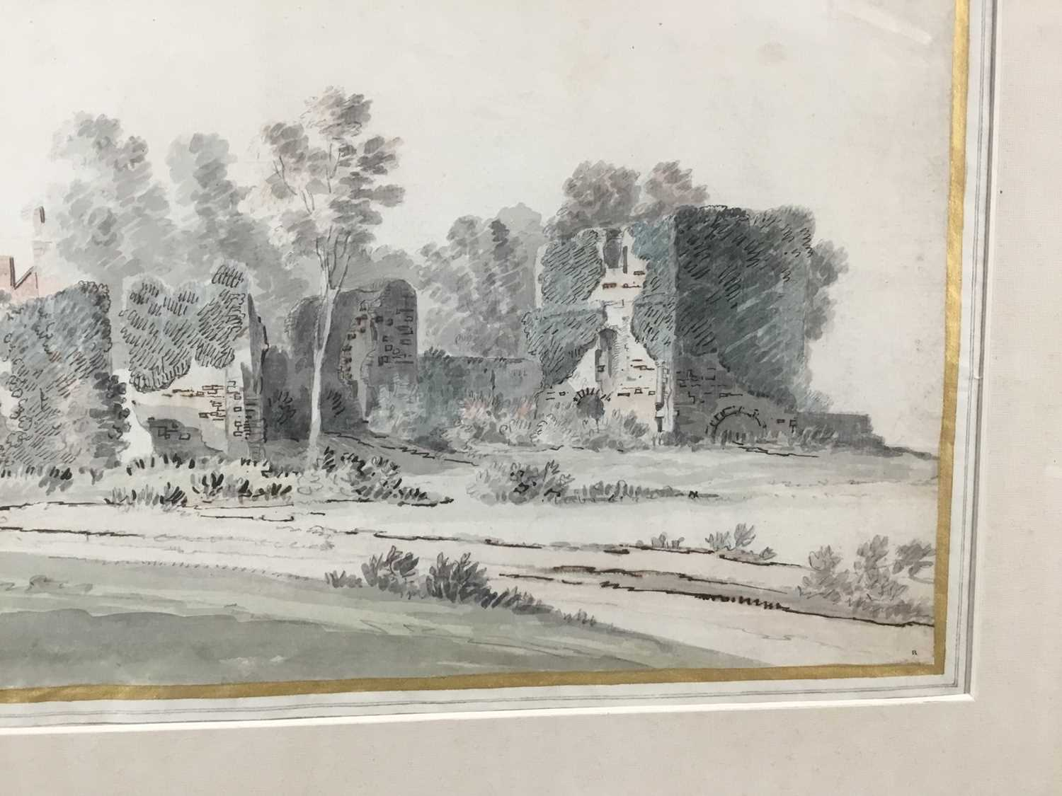 English School, early 18th century, monochrome pen, ink and watercolour - Castle Ruins, with mark fo - Image 7 of 8
