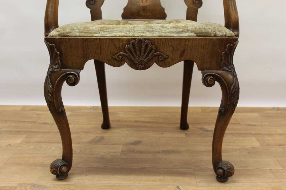 George I style walnut and inlaid crook arm elbow chair - Image 8 of 9