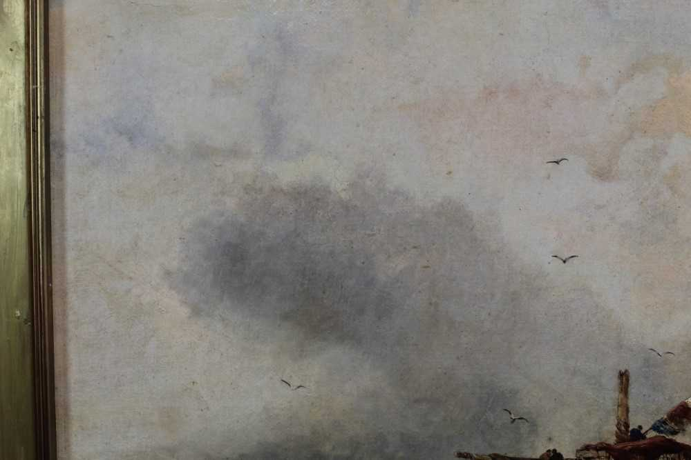 Manner of William Henry Williamson oil on canvas - shipping off the coast, in gilt frame - Image 7 of 27