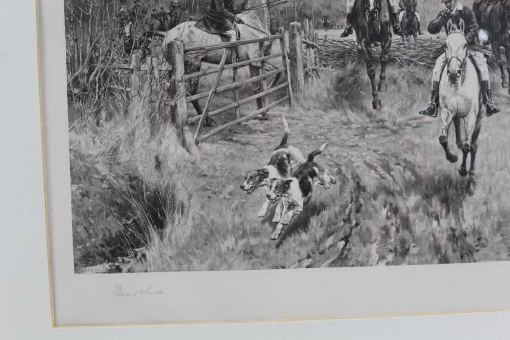 Thomas Blinks (1860-1912) three signed photogravures - Hunting Scenes, 40cm x 57cm, in glazed frames - Image 9 of 15