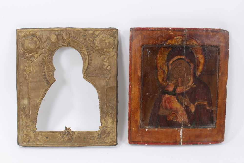 19th century Russian icon, with metal oklad. - Image 3 of 6